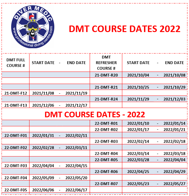 DMT Diver Medic Full Course and Refresher Course Dates